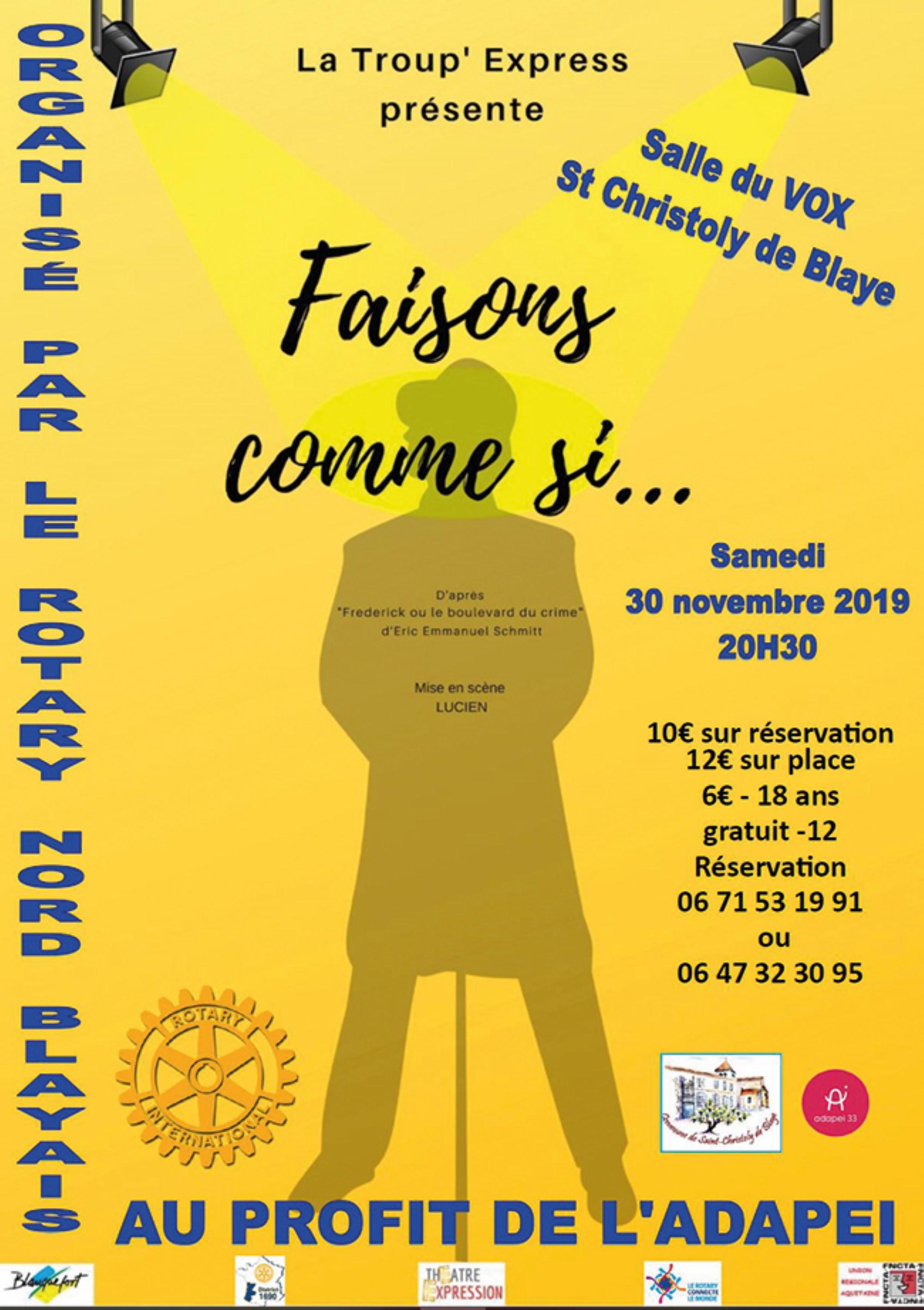 Soirée Théâtre organisée par le Rotary Club Nord Blayais