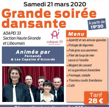 ANNULATION – Grande soirée dansante  – Section locale Haute-Gironde et Libournais
