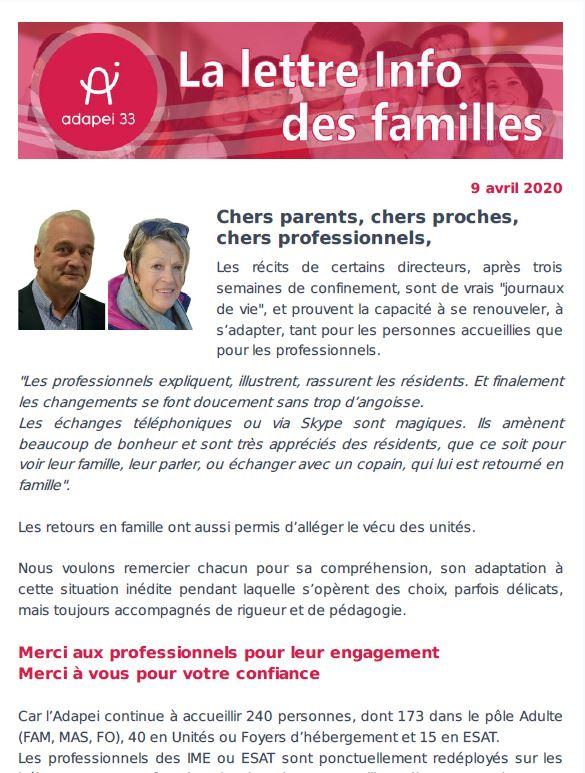 Newsletter des familles #1
