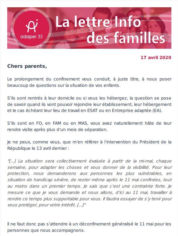 Newsletter des familles #2