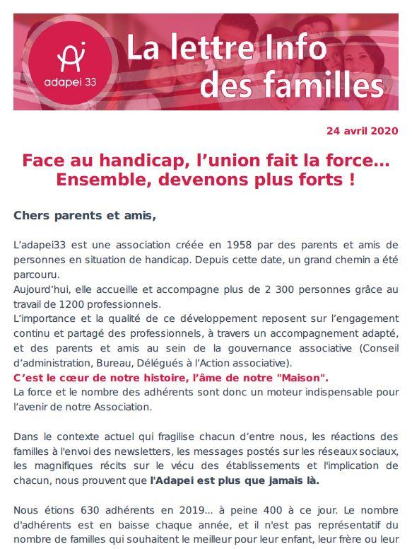 Newsletter des familles #3